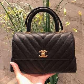 Chanel Coco Handle 24cm small size 黑荔枝皮金鍊