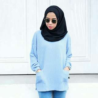 Boxy rajut denim