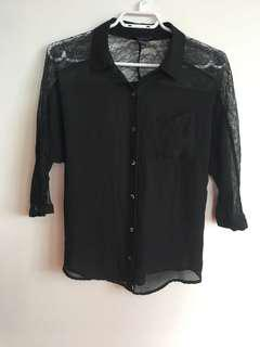 Sheer 3/4 Sleeve Button Up