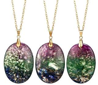 Solar druzy agate necklace