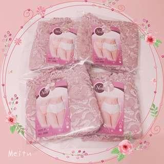 粉色蕾絲提臀中腰內褲4入-台灣製造