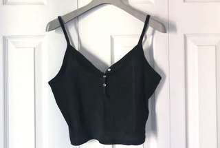 Black cropped ribbed top shop tank top