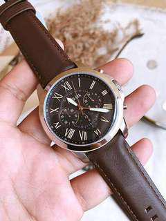 Fossil Grant Brown Leather Watch - FS4813