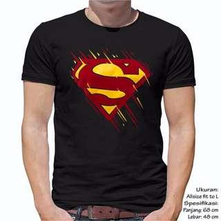 Unisex Baju kaos Atasan Pria Wanita Cewek Cowok Superman Abstrak Ukuran Fit L Warna Hitam
