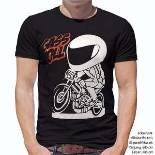 Unisex Baju kaos Atasan Pria Wanita Cewek Cowok Master Racing Ukuran Fit L Warna Hitam