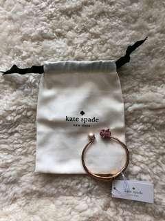 Authentic Kate Spade Gold Pave Pig & Faux-pearl Hinge Bangle Bracelet