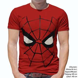 Unisex Baju kaos Atasan Pria Wanita Cewek Cowok Topeng Spiderman Ukuran Fit L