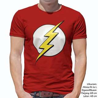 Unisex Baju kaos Atasan Pria Wanita Cewek Cowok The Flash Logo Ukuran Fit L