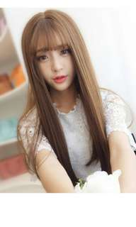 Preorder korean natural air bang straight full wig * waiting time 15 days after payment is made* chat to buy to order