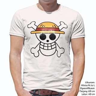 Unisex Baju kaos Atasan Pria Wanita Cewek Cowok Animasi One Piece Logo Ukuran Fit L