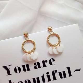 貝殼流蘇圓形長款耳環earring