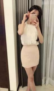 🚚 白粉配色假兩件婉約洋裝連身裙