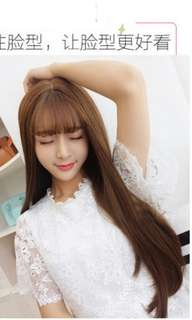 Preorder korean natural air bang straight ladies wig * waiting time 15 days after payment is made* chat to buy to order