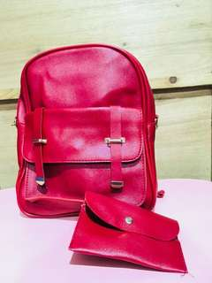 2-in-1 Korean Backpack/Slingbag in Red