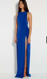 AQAQ High Slits Long Blue Dress