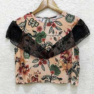Zara Floral x Lace Top