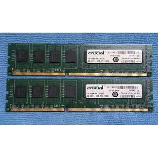 Crucial ddr3 (4gb x2) 8gb 1600mhz desktop memory