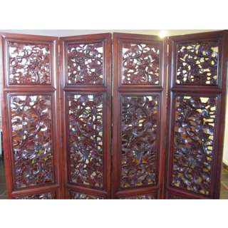 Antique Four Panels Rosewood Dragon-designed Chinese Room Divider (China)