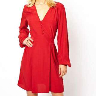 ASOS Red Skater Dress with Buttoned Long Sleeves (Small)