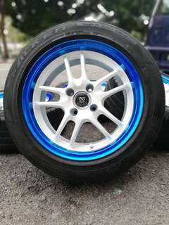 Racing fozza original japan 15 inch sports rim myvi ikon tyre 70%. Padoooo khaw khaw