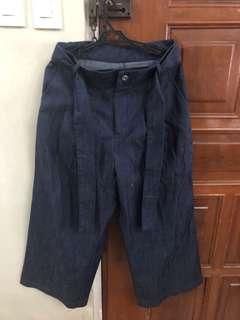 Chambray wide leg pants