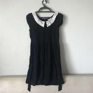 Forever21 Black Dress w/ Knitted Baby Collar