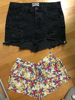 Black jean skirt and floral shorts