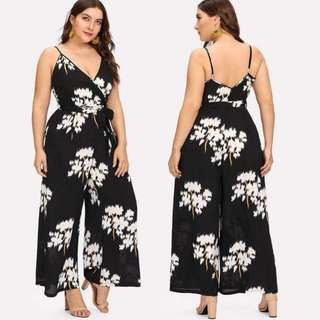 Plussize! Nonsleeves Printed Jumpsuit