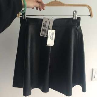 American apparel real leather circle skirt size xs