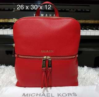 mk rhea slim backpack M bright red sz 26x30