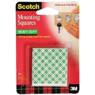 "3M 111 Scotch Heavy Duty Mounting Square 1""x 1"""