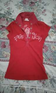Baju Cewek Merah Berkerah Blink Blink