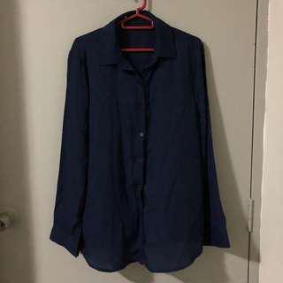 Navy Blue Long Sleeves Work Shirt