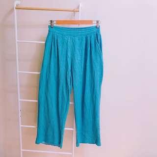 🚚 正韓*水藍刷白寬褲