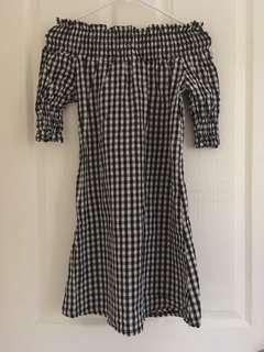 Checkered off shoulder dress