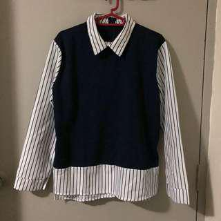 Navy Blue & White Striped Fake Two Piece Long Sleeves Shirt
