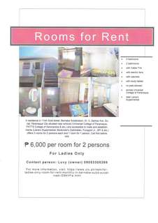 FOR LADIES ONLY Room for rent (good for 2 persons) at Bernabe Subd.