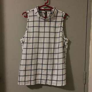 Temt White & Black Checkered Sleeves High Neck Shirt