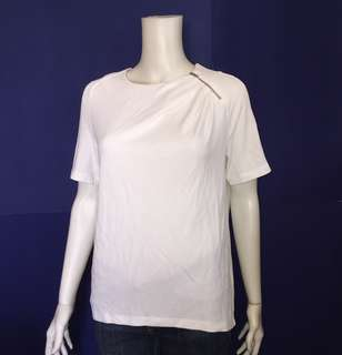 USED 1x COS ZIP SHOULDER WHITE BLOUSE
