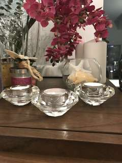 48 Diamond cut crystal tea light holders for wedding or home decor