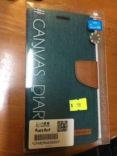 Samsung A8 case電話殼 翻蓋 綠藍色