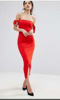 Lavish Alice Bardot Midi Dress with Tie Sleeve Detail