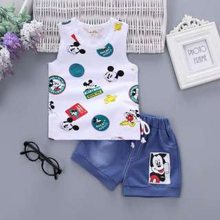 Boys Casual Sleeveless Mickey Set