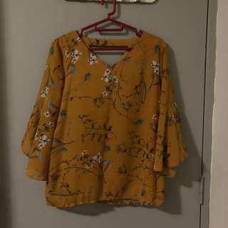 Yellow Mustard Floral Flared 3/4 Sleeves Top