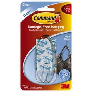 3M 17093 Color Command (Tm) Large Clear Hook