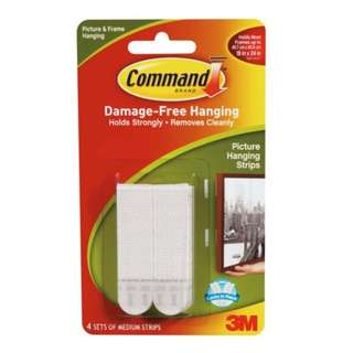 3M 17201/W Command Medium Picture Hanging Strip White
