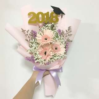 Pink Gerberas with Baby Breath and Caspia for Graduation Flowers