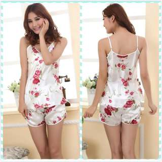 Muimui Woman Floral Flower Satin Lingerie Nightwear With Pant White MS1062