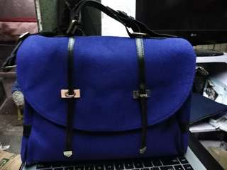 Blue Satchel Handbag with sling