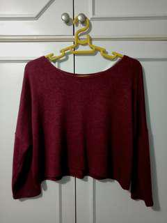 Maroon Knitted Crop Top